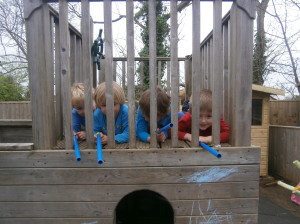 Playing on the pirate ship.