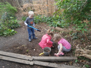 Digging in the woodland