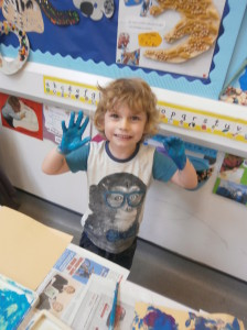 Messy play with paints!!