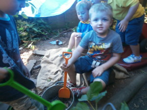 Playing in the woodland den!!