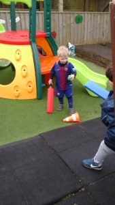 Playing with the sports equipment